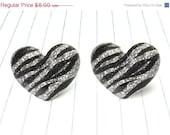 ON SALE glitter zebra heart earrings - zebra earrings - zebra studs - zebra jewelry - zebra print - animal print earrings - animal print stu