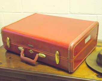 Samsonite Suitcase Mid Century Train Case Luggage with KEY in Pecan Brown #1 - American Retro
