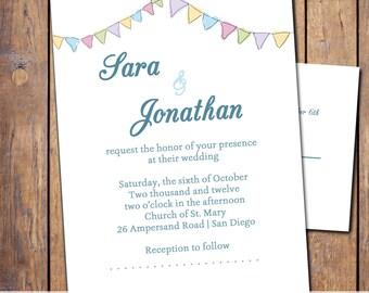 Wedding Banner Invitation, colorful banner, custom, personalize, digital, printable, cute modern invite, invite and rsvp, digital, custom, N