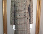 Vintage 1970's Donini Grey Plaid Wool Coat - Size 10