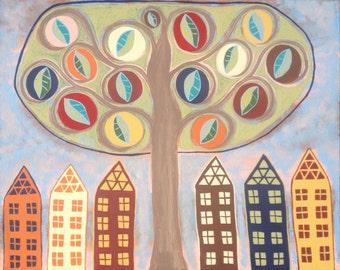 Ambrosino Art NEEDLEPOINT Mexican Folk Art  Tree of Life Flowers Leaves Pottery Barn Inspired Saltbox Houses