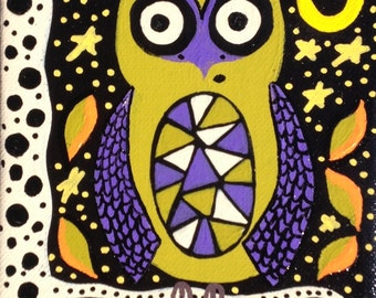 Ambrosino Art NEEDLEPOINT Mexican Folk Art  HALLOWEEN owl witch bruja Fall Autumn