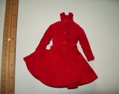 Vintage Authentic 1963 Barbie Skipper Red Velvet Coat Tagged #1906 FREE SHIPPING