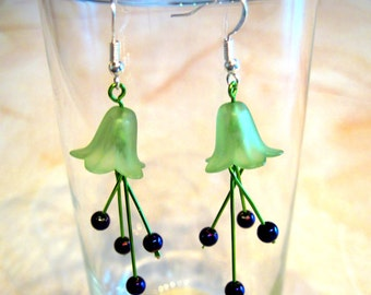 """Dangly Pierced Earrings """"Lily"""" Green and Purply Blue Flowers"""