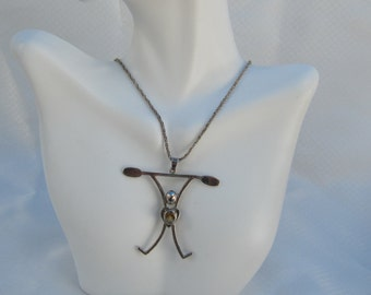 Artist Crafted Sterling and Citrine Pendant and Sterling Chain