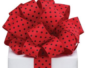 "5YDS Grosgrain Ribbon 1-1/2"" Wired Edge Red & Black LadyBug Polka Dot Spots (FREE SHIPPING!)"