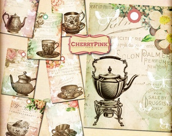 VINTAGE TEA TAGS printable tags, digital collage sheet shabby chic printable digital download hang tags