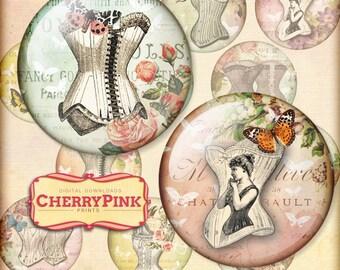 10mm circle digital download VINTAGE CORSET collage sheet  printable images,  for pendants magnets