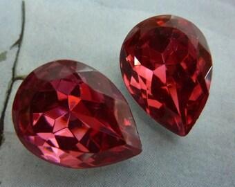 2 glass jewels, 18x13mm, pink, pear