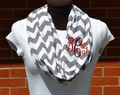 Monogrammed Chevron Infinity Scarf Gray and White Knit Jersey - BEST SELLER