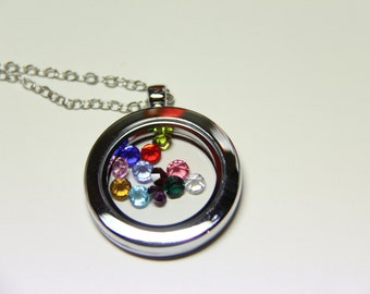 A set of round magnetic glass floating charm locket and necklace rhinestone