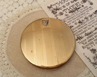 Vintage, Stratton Compact, Powder Compact, Gold, Make Up Mirror
