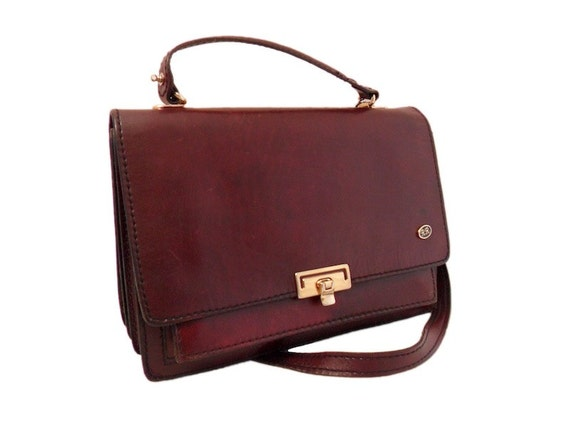 Vintage Burgundy Leather Cross Body Bag Satchel Messenger