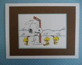 Snoopy Woodstock Peanuts Hockey Card Blank or Birthday