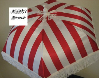 VICTORIAN PARASOL Umbrella in Red and White Stripe Satin with White Fringe Shower Reenactment Wedding Bridesmaid Steampunk Pageant Gothic
