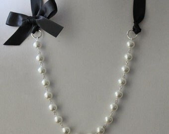 White Pearl and Black Ribbon Bow Necklace