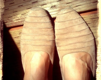SKIN   ///   Nude Suede Leather Flats