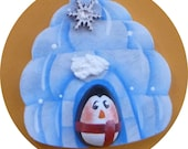 Igloo with Penguin Pin/Magnet Snowflake Hand Painted Wood