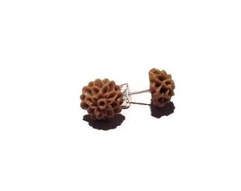 Chocolate Brown 10mm resin Dahlia Stud earrings stainless steel