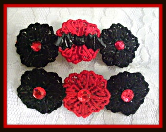Gothic Black And Red Flower OR  Bat Barrette