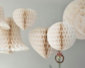 Reserved for Midori - Vintage inspired ball shaped ivory white honeycomb paper party or wedding decoration props