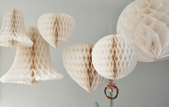 Vintage inspired ball shaped ivory white honeycomb paper party or wedding decoration props