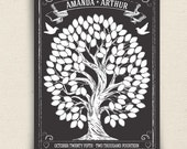 Guest Book Alternative - Chalkboard Style Guest Book - Chalkwik Wedding Guest Book Tree - Peachwik Interactive Art Print - 125 guest sign in