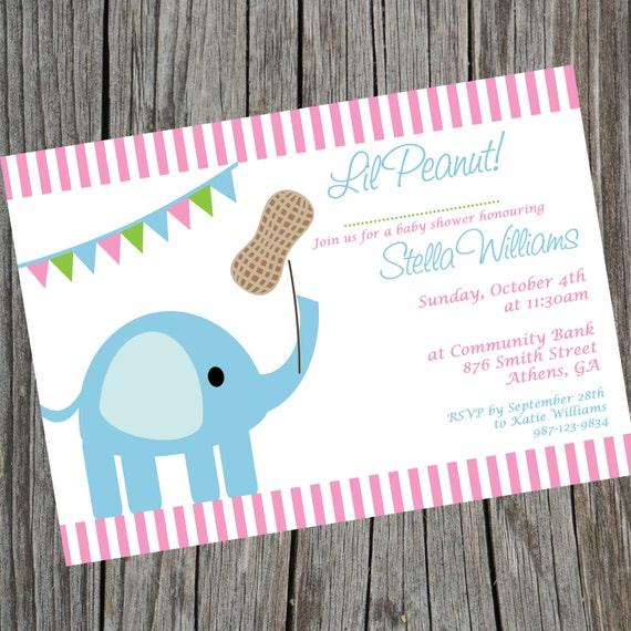 Elephant Invitation. Lil Peanut Baby Shower Invitation.
