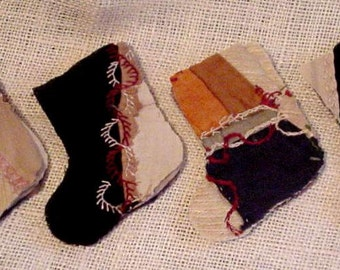 Crazy Quilt Stocking Appliques, Primitive Tattered Torn Antique Patchwork Christmas Stocking Cutter Quilt Embellishments itsyourcountry