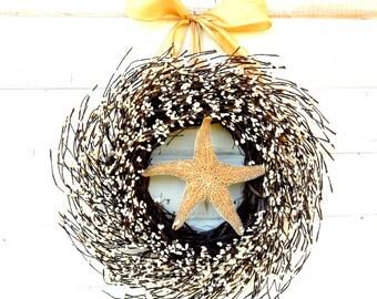 Coastal Wreath-Coastal Home Decor-Beach Decor-STAR FISH Decor-Nautical Home Decor-Bathroom Decor-Scented Wreaths-Custom Made Wreaths USA
