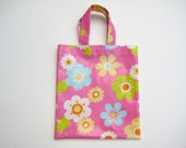 Small Pink PVC Bag with Large Flowers, Oilcloth Bag, Small Tote Bag