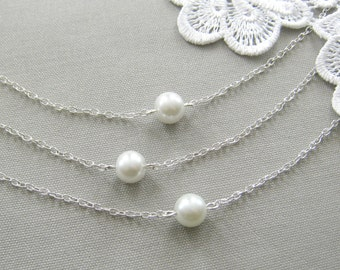 SET of 10  bridesmaid necklace set, bridesmaid necklaces, bridesmaid gift wedding jewelry white ivory pearl - custom color W001S