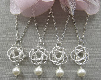 SET of 6 bridesmaid necklace Silver twisted flower pearl necklace, bridesmaids necklace, wedding jewelry, white ivory pearl  W005