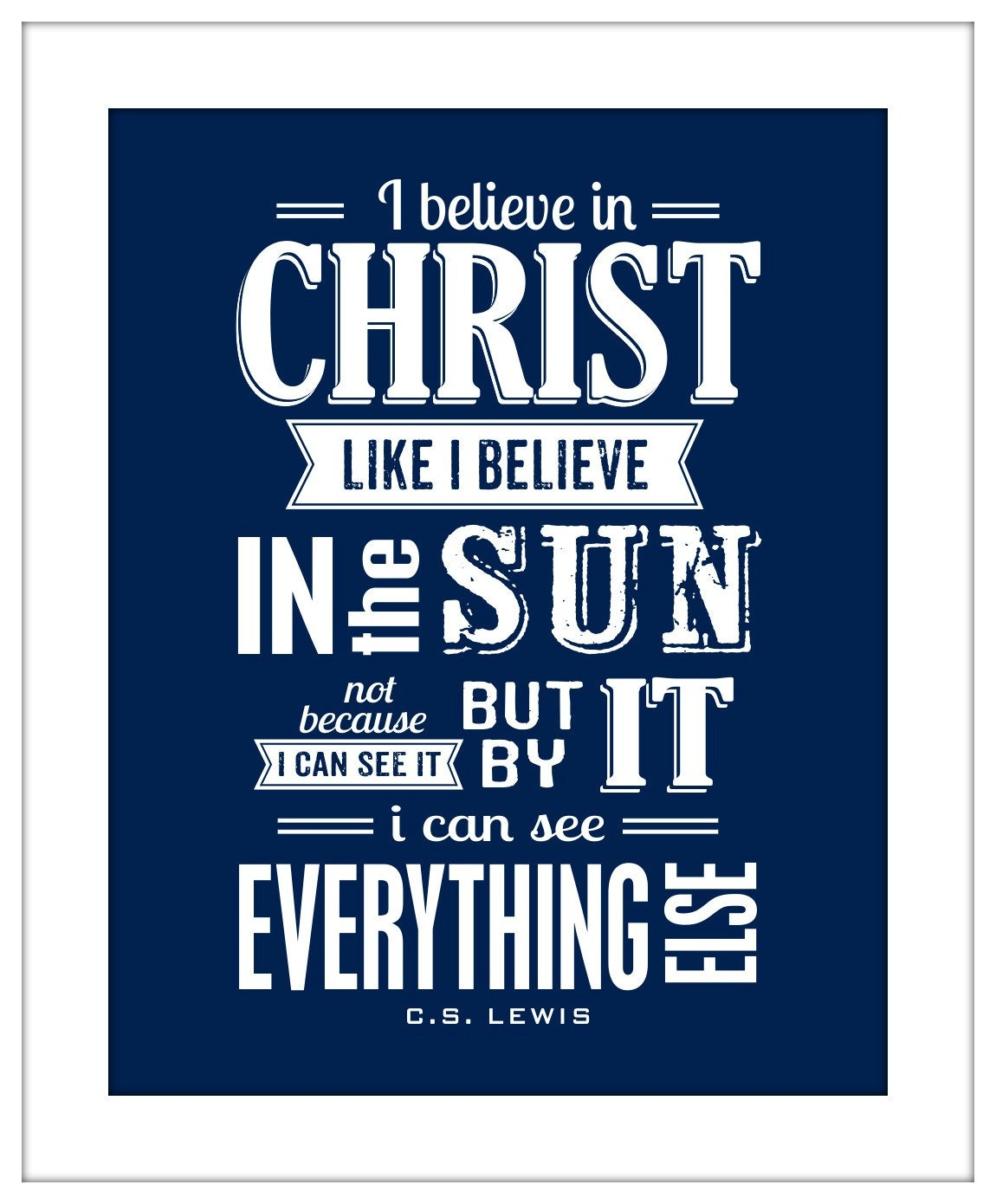 inspirational quote i believe in christ cs lewis typography