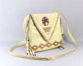 RESERVED Vintage Leather Purse / Tribal Fringed Bag /  Southwest Cross Body Handbag