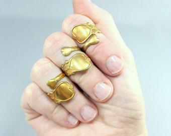 Vintage Midi Ring / Brass Wrap Knuckle Ring / Adjustable Ring