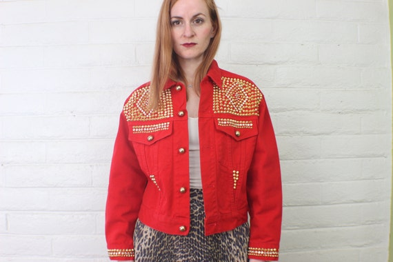 Red Denim Studded Jacket / Vintage Women's Outerwear / Multi-Studded Coat