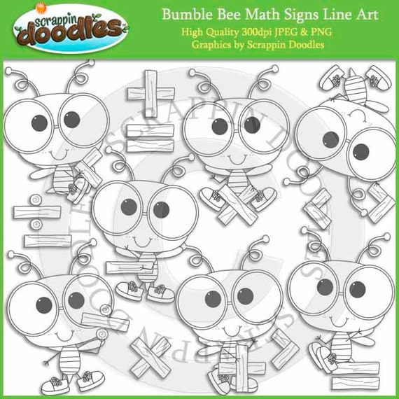 Line Art Math : Bumble bee math signs line art