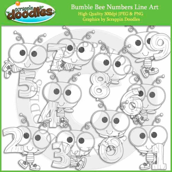 Line Art Numbers : Bumble bee numbers line art
