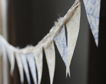 bunting wedding gold blue cream lotka paper baby shower nursery art