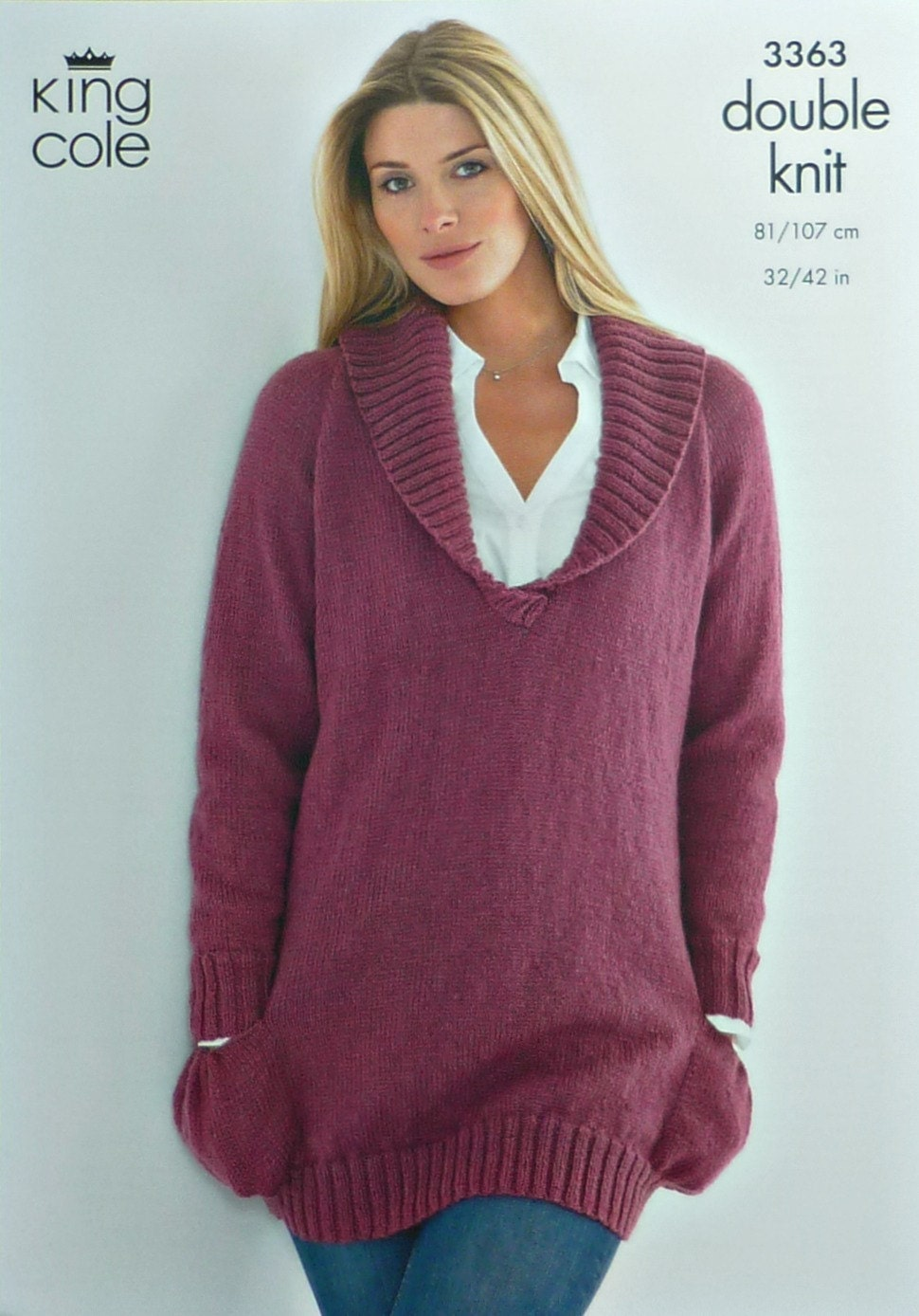 Knitting Pattern Ladies V Neck Jumper : Womens Knitting Pattern K3363 Ladies Long V-Neck Jumper with
