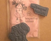 "Christy Croll 2 Piece Rubber Cling Mount Stamp Set--""Little Emmy and Sentiment""--Gently Used"