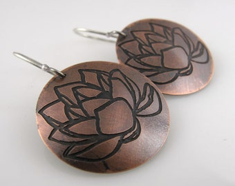 LOTUS COPPER Earrings Etched  Mixed Metal Patina Metalwork