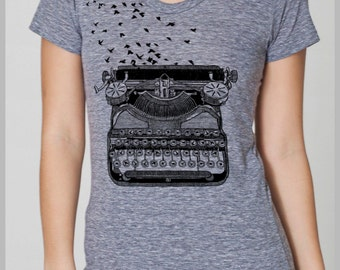 Writers Gift Vintage Typewriter Women's T Shirt with Birds Freedom of Speech Writers Author Literary Gifts American Apparel Tee S, M, L, XL