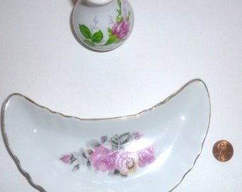 Porcelain Curved Bone Dish with Pink Roses and a Tiny Porcelain Vase