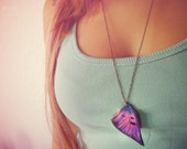Butterfly wing necklace. Purple blue violet butterfly wing. Star necklace. Woodland necklace, butterfly jewelry accesories, vintage necklace