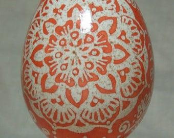 Etched turkey mehndi pysanka, pysanky inspired by Indian henna and Ukrainian egg art on real turkey egg shell