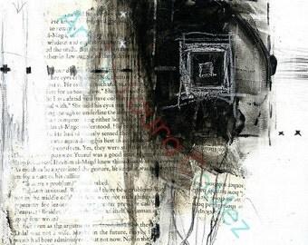 "Atrapada- The Series N003 (Trapped) Black and White Minimal Modern Contemporary Art- Print of Original Art by Laura Gomez 9.63X12"""