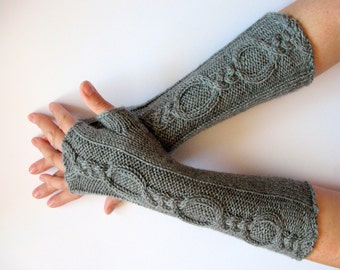 Fingerless Gloves Gray 12 inch wrist warmers