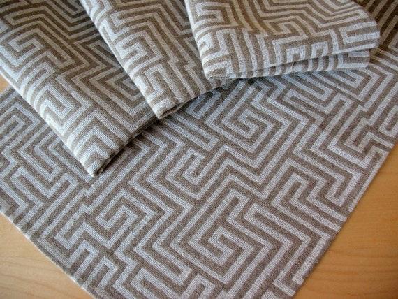 """Linen Napkin Natural Gray White set of 8 - Flax - 18""""x13"""" size"""